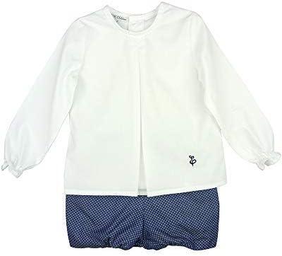 EVE CHILDREN - Conjunto para niño. Camisa Blanca de Manga Larga y Short Azul Marino con motitas Blancas: Amazon.es: Ropa y accesorios