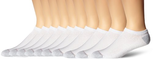 Hanes Men's 10 Pack Ultimate No Show Socks, White, 10-13 (Shoe Size 6-12)