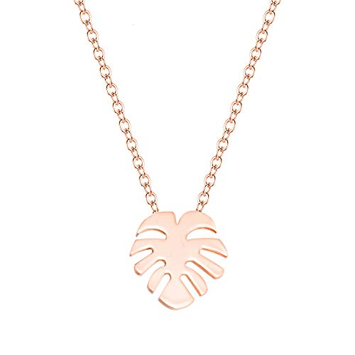 YOOE Hawaiian Palm Leaf Necklace.Tropical Style Leaf Pendant Necklace for Woman Girl Jewelry Vacation Beach Gift (Rose Gold)