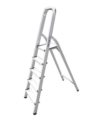 Cren® Ultra Light Aluminum 5-step Portable Folding Platform Stool Ladder - 300LB Capacity(5 Steps) (Exterior Doors With Side Lights)