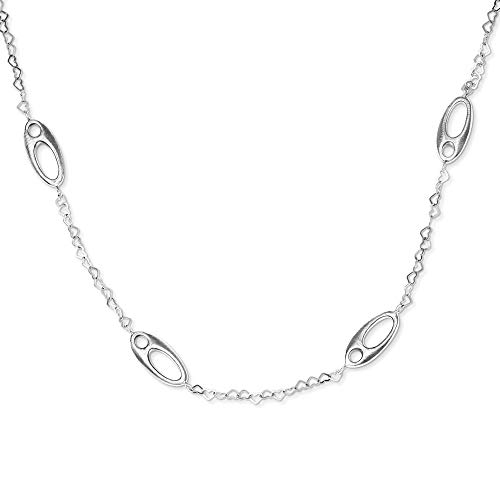 Sterling Silver Brushed Ovals and Heart Link Necklace, 50