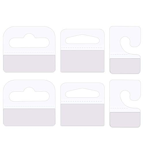 Canomo 300 Pieces Plastic Clear Adhesive Custom Hang Tabs Tags Hooks Display Card for Store Retail Display, 3 Shapes