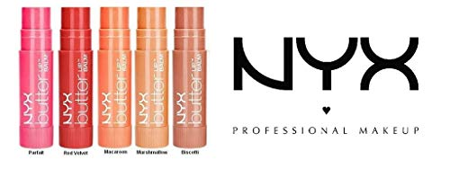 Velvet Biscotti - NYX Butter Lip Balm 5-Piece Set Assorted Colors (Parfait, Red Velvet, Macaron, Marshmellow, Biscotti)