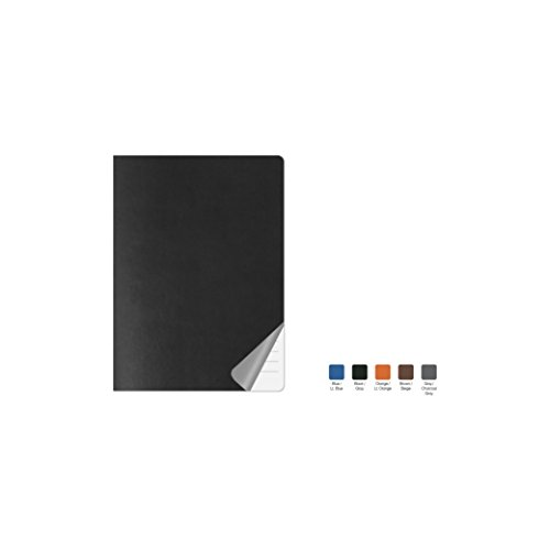 DUET Ruled, Flexicover Executive Notebook Journal, Premium Paper, 192 Lined Pages, Two-Tone Flexible Cover, Fountain Pen Friendly, Black & Gray Cover, Size 5.75