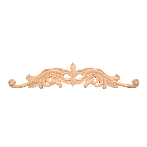 hand-carved-unfinished-fleur-de-lis-onlay-20-in-x-075-in-x-375-in-rubberwood