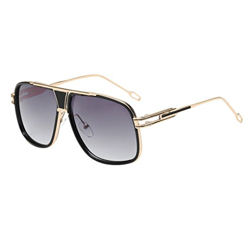 BEUU Men'S And Women'S Box Sunglasses Women Men Fashion Quadrate Metal Frame Brand Classic (B)