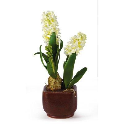 Nearly Natural Hyacinth w/Glazed Pot Silk Flower Arrangement