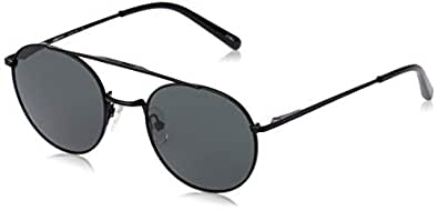 Local Supply Men's Lal Supply Bridge Bridge   Bkm25 Polarized Round Sunglasses, Matte Black Frames, 50 mm