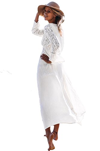 New delicato pizzo bianco dettaglio cover-up bikini Swimsuit Swimwear Summer Wear taglia unica