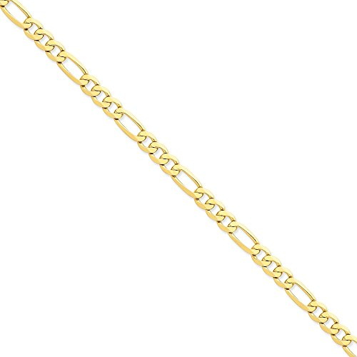 14k Yellow Gold 7mm Flat Figaro Chain 8'' Bracelet by Jewelplus