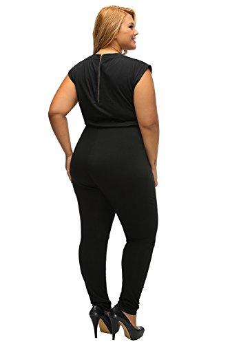 Damen plus Größe schwarz Slashed Reißverschluss Einteiler Jumpsuit Catsuit Spielanzug Bodysuit Club Wear Kleidung Größe XL UK 12–14EU 40–42