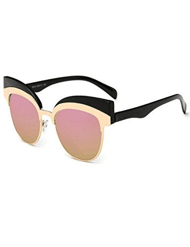 Womens Cateye Eyebrow Semi-Rimless Plastic Metal Frame UV400 Sunglasses - Glases Cat Eye