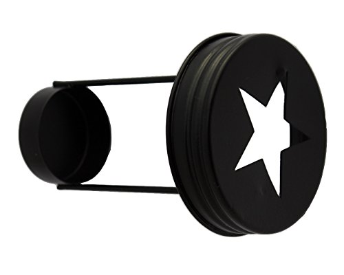 (Star Cutout Tea Light Candle Holder Lids for Regular Mouth Mason, Ball, Canning Jars (3 Pack, Black))