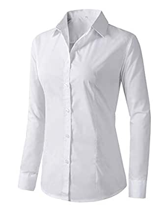 Benibos Women's Formal Work Wear White Simple Shirt (XS White)