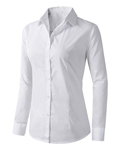 Women's Formal Work Wear White Simple Shirt (225 White, M) (Collares Para Fotos)