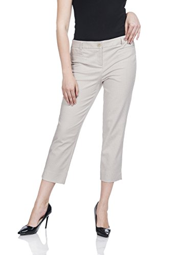 Soshow Women Stretch Comfy Capri Pants,Ladies Casual Curvy Fit Pants,Polka Dot Pants White