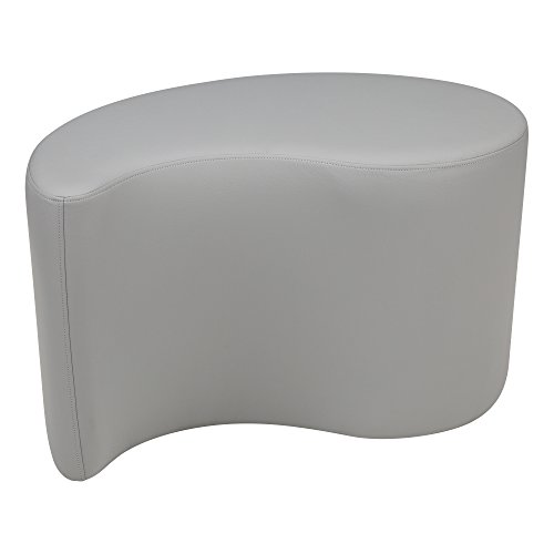 Learniture Shapes Series II Vinyl Soft Seating Stool, Teardrop, 18'' H, Light Gray, LNT-1002LG-A by Learniture