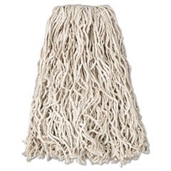 * Economy Cut-End Cotton Wet Mop Head, 20oz, 1'' Band, White, 12/Carton