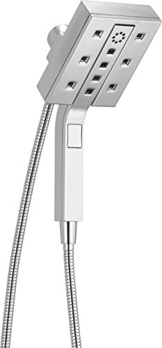 Delta Faucet 4-Spray Touch-Clean H2Okinetic In2ition 2-in-1 Dual Hand Held Shower Head with Hose and Magnetic Docking, Chrome 58473