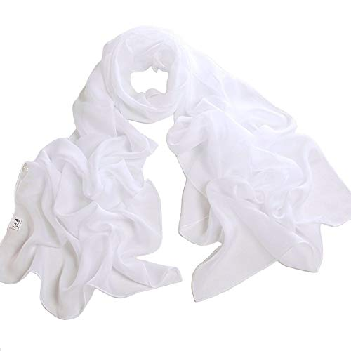 Fashionable Solid Color Chiffon Scarf - White