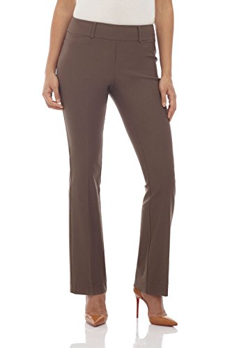 Rekucci Women's Ease in to Comfort Fit Barely Bootcut Stretch Pants (10,Mocha) (Dresses For Women With Boots)