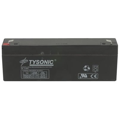 Tysonic TY-12-2.3 Sealed Lead Acid Rechargeable Battery, 12V, 2.3Ah, 2.4'' H x 7'' L x 1.3'' W