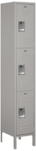 Salsbury Industries 53165GY-U Triple Tier 15-Inch Wide 6-Feet High 15-Inch Deep Unassembled Extra Wide Standard Metal Locker, Gray