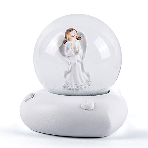 WOBAOS Snow Globes,Illuminated with Lights Water Ball,Snowglobes for Kids,Valentine's Day Birthday and Christmas New Year's Gift(Diameter 60mm, White)