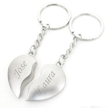 LLavero personalizado parejas - Plata - Mitad Corazón ...