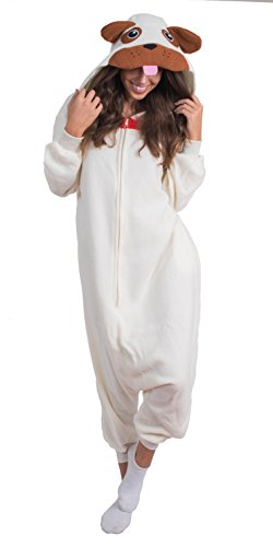 Adult Onesie Pug Animal Pajamas Comfortable Costume with Zipper and Pockets -