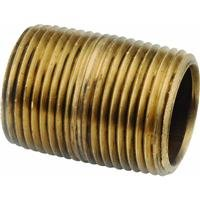 Anderson Metals Red Brass Pipe Fitting, Nipple, 1/8