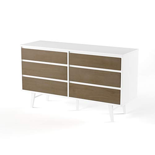 ModHaus Living Mid Century Modern Retro 6 Drawer Wood Dresser Chest in White and Gray Finish - Includes Pen