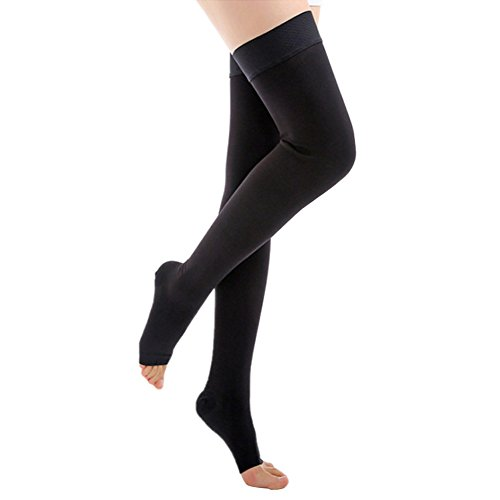Ztl Thigh High Compression Stockings Open Toe 20-30mmHg with Silicone Band for Varicose Veins/Treatment Swelling -