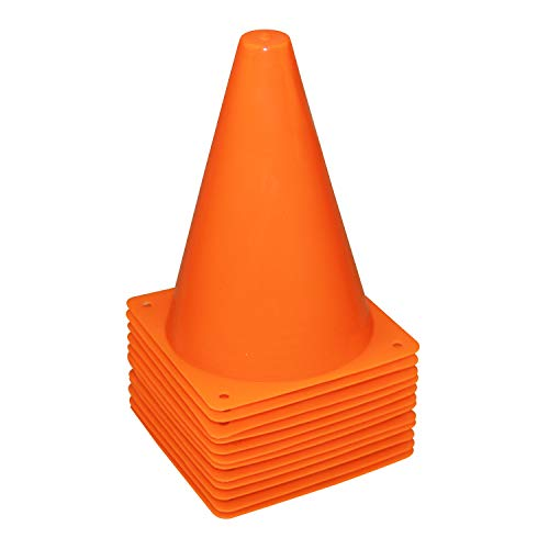 0.5' Disc Color - REEHUT 7.5 Inch Plastic Sport Training Traffic Cone (Set of 12, Orange)
