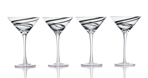Luigi Bormioli Black Swirl 8-ounce Martini Glass, Set of 4]()