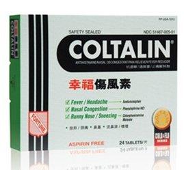 Coltalin Original Antihistamine Nasal Decongestant Pain Reliever Fever Reducer Cold and Flu 24 Tablets Box