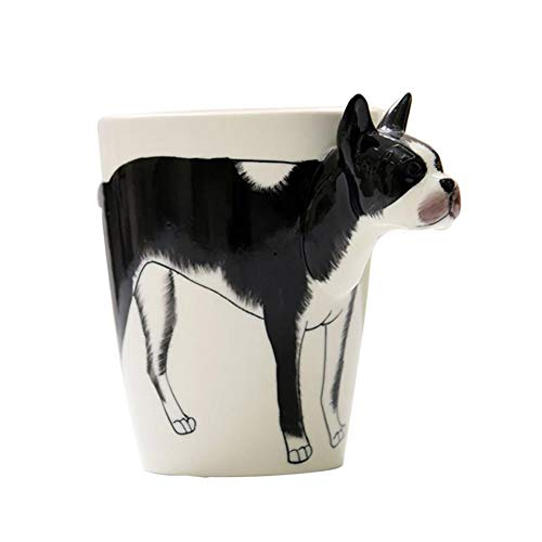 - 3D Animal Giraffe Shape Hand Painted Ceramic Coffee Mugs Milk Tea Cups Cute Cartoon Elephant Dolphin Penguin Sika Deer Cups Gift Boston Terrier