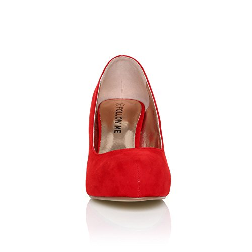 Ladies COLLECTION Womens Smart Work Size MID Pump CORE 3 New Office Heel 8 Red Suede Shoes Casual Court tRxnEWxdU0