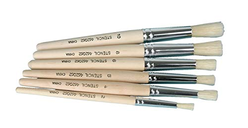 Assorted Sizes Pack of 6 School Specialty 462062 Stencil Brush Set