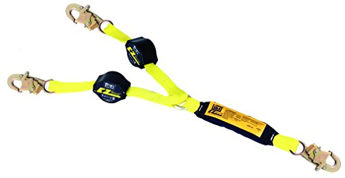 3M DBI-SALA,Retrax 1241480 Shock Absorbing Lanyard, 6' 100 Percent Tie-Off Retractable Web and Snap Hooks At Each End, Navy/Yellow