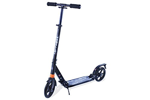 Monello Adult Teen Kick Scooter with Dual Suspension, 2 Big Wheels (Black)