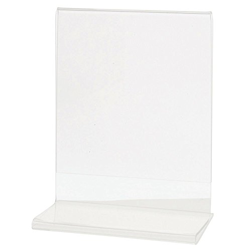Acrylic Sign Holder With T Base Clear Vertical Ad Holder Photo Frame - 4 1/2 L x 2 1/2 W x 5 1/2 H by Hubert