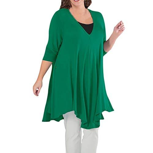 (BOOMJIU Women Top Clearance Sale Women Solid Long Sleeve Plus Size Casual Blouse Loose Cotton Tops T-Shirt)