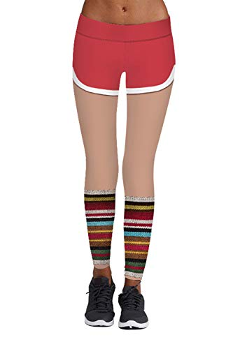 Meenew Women's 3D Pants Digital Printed Yoga Tights Skinny Footless Leggings L