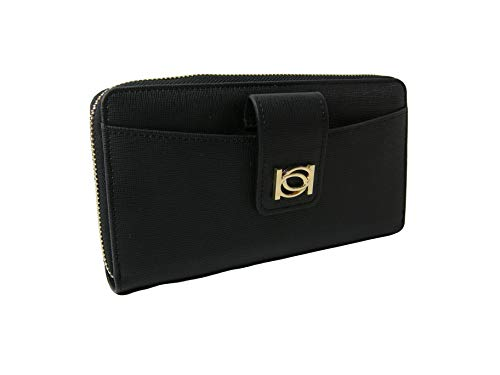 New BEBE Logo Large Zip Around Wallet Purse Hand Bag Clutch Black Gold Lupe ()