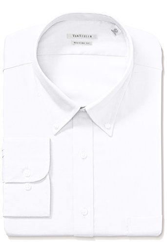 Van Heusen Men's Pinpoint Regular Fit Solid Button Down Collar Dress Shirt, White, 14.5
