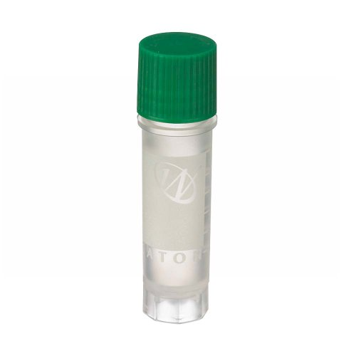 Wheaton W985867 Polypropylene Conical 2mL CryoElite Cryogenic Freestanding Vial, with Writing Patch and External Threaded Green Cap (Case of 500)