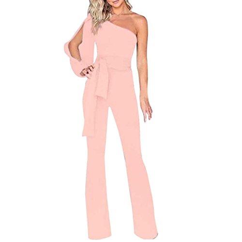 Manica Tuta A Con Off Maniche Rosa Lunga Jumpsuit Larghi Da Donna E Elegante Lunghe Sexy Spalla Pantaloni Elecenty BvqUIw