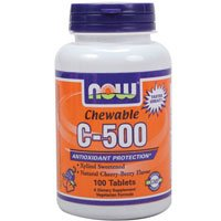 Vitamin C-500 Cherry Chewable, 100 Tabs by Now Foods (Pack of 6) by NOW Foods