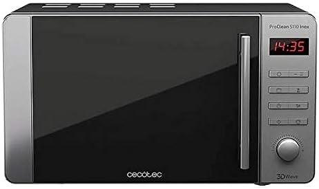 Cecotec Microondas con Grill ProClean 5110 Inox. Capacidad de 20l, Revestimiento Ready2Clean, 700 W de Potencia, Grill 800W, 5 Niveles Funcionamiento, 8 Programas, Temporizador 60 min, Pantalla LED